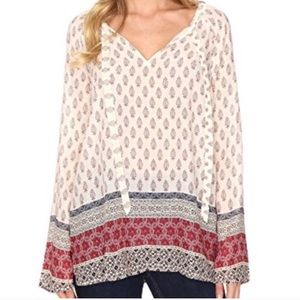 Sanctuary leaf print boho bell sleeve blouse